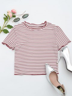 Ribbed Texture Striped Cropped Tee - Stripe S