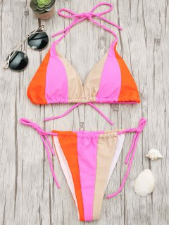 Adjustable Tie Color Block String Bikini Set - S