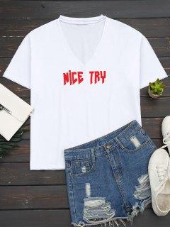 Loose Choker Letter T-Shirt - White S