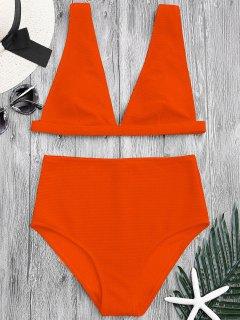 Textured Plunge High Waisted Bikini Set - Orange M