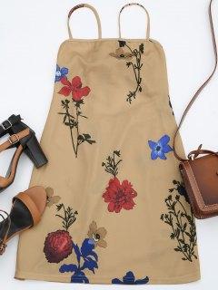 Backless Flower Cami Dress - Floral S
