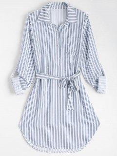 Belted Striped Long Sleeve Dress - Stripe M