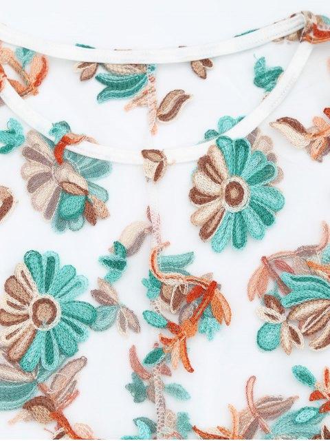 unique Floral Patched Sheer Mesh Dress - FLORAL XL Mobile