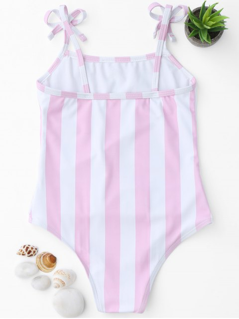 trendy Bow Straps Striped Kids One Piece Swimsuit - PINK AND WHITE 6T Mobile