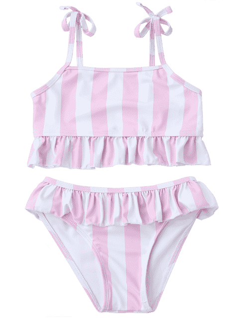 sale Frilled Striped Toddler Girls Bikini Set - PINK AND WHITE 3T Mobile