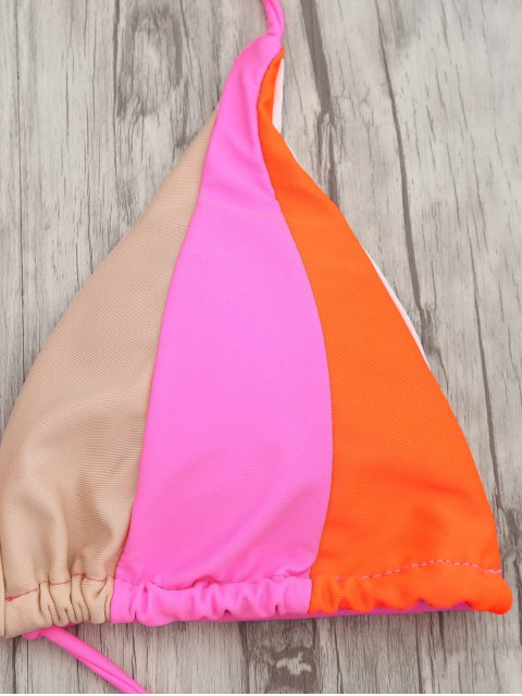 women Adjustable Tie Color Block String Bikini Set - COLORMIX S Mobile