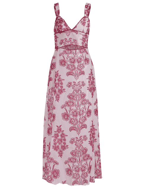 trendy Waist Cutout Maxi Beach Dress - RED WITH WHITE M Mobile
