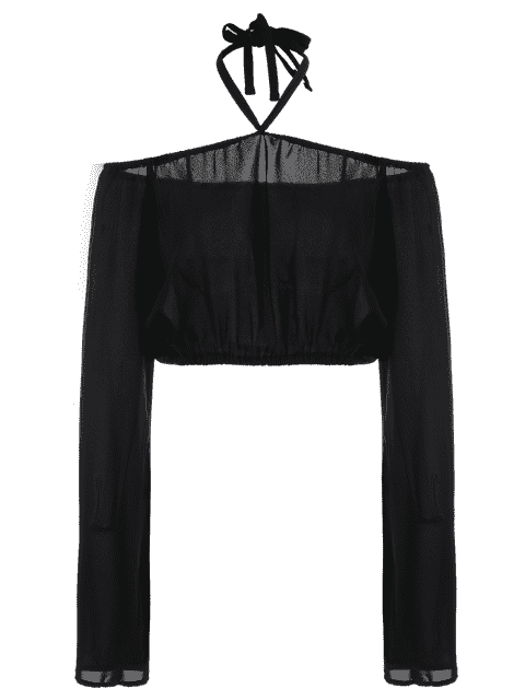fashion Off The Shoulder Boat Neck Puff Sleeve Chiffon Crop Top - BLACK L Mobile