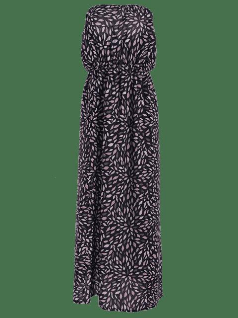 hot Printed Fitting Bandeau Sleeveless Maxi Dress - BLACK M Mobile