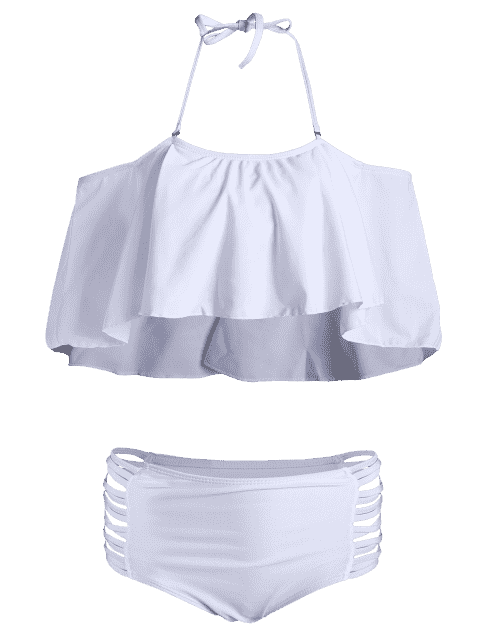 sale Padded Ruffles Top With Cutout Briefs Bikini - WHITE M Mobile