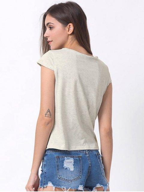 fashion Casual Cartoon Print T-Shirt - GRAY M Mobile