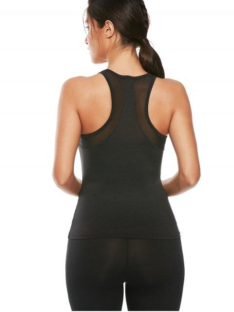 trendy Mesh Panel Workout Running Vest - BLACK L Mobile