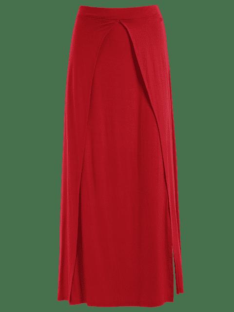 ladies Double Split Maxi Skirt - RED XL Mobile