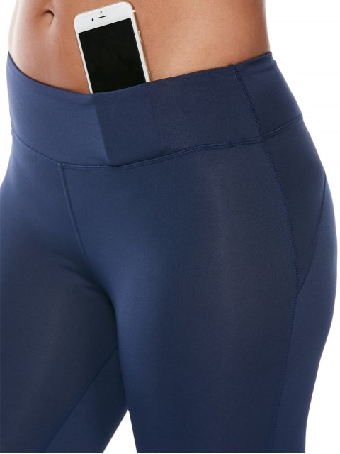 trendy See Through Mesh Panel Cropped Fitness Leggings - DEEP BLUE L Mobile