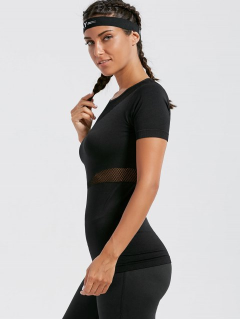 ladies Mesh Openwork Breathable Fitness T-shirt - BLACK L Mobile