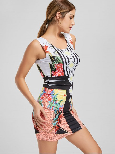 shop Floral Print Stripes Bodycon Club Dress - YELLOW L Mobile
