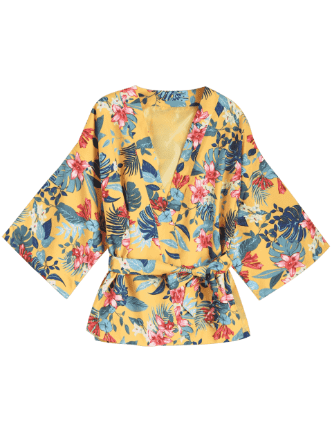 unique Belted Floral Kimono Blouse Coat - YELLOW S Mobile