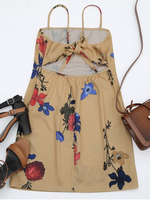 outfit Backless Flower Cami Dress - FLORAL S Mobile