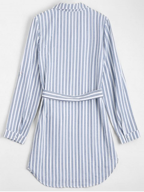 new Belted Striped Long Sleeve Dress - STRIPE L Mobile