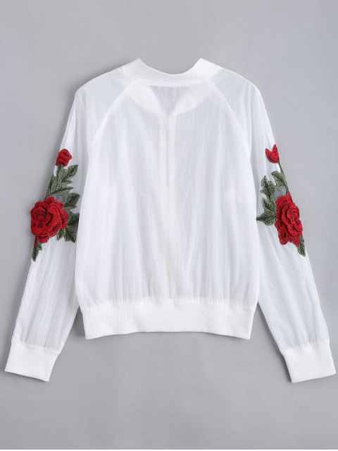 outfit Floral Patched Zip Up Jacket - WHITE M Mobile