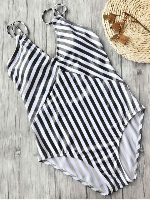 affordable Slimming Striped Strappy One Piece Swimsuit - WHITE AND BLACK S Mobile