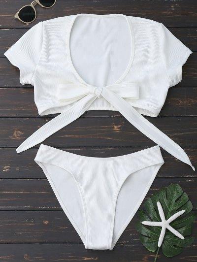 Traje De Baño De Corte Alto Delantero Nudo - Blanco M