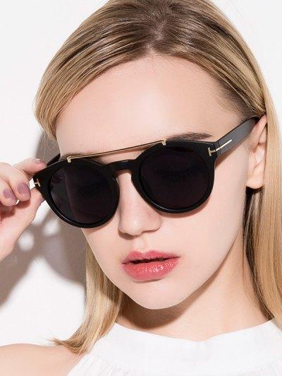 Alloy Embellished Matte Black Sunglasses - Black