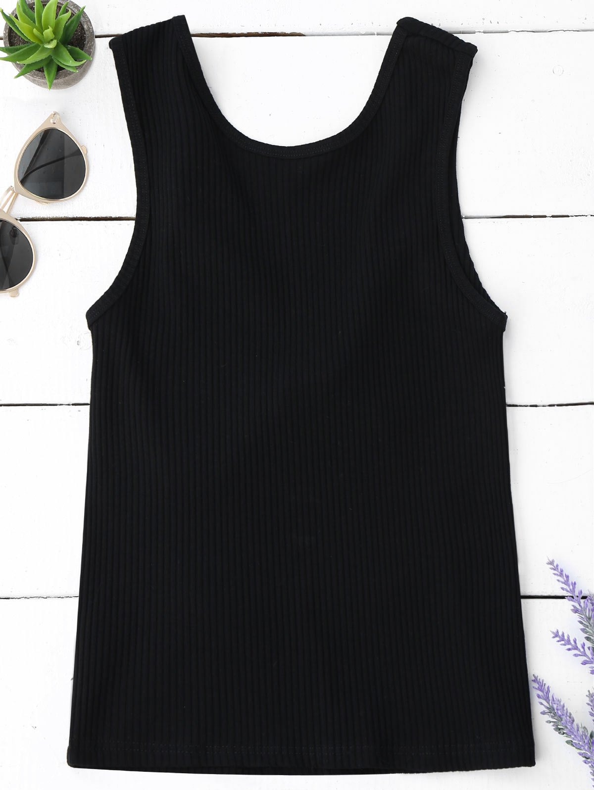 Knitted Ribbed Cut Out Tank Top 218018508