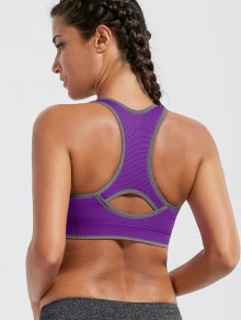 Paded Racerback High Impact Sports Bra - Purple M