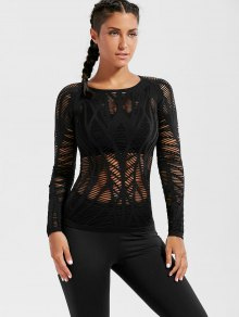 Long Sleeve Sheer Ripped Sports T-shirt - Black M