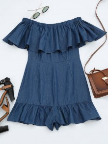 Off The Shoulder Flounce Denim Romper - Denim Blue Xl