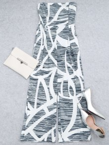 Printed Strapless Wide Leg Jumpsuit - White S