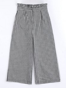 Plaid Ruffles Wide Leg Pants - Checked M