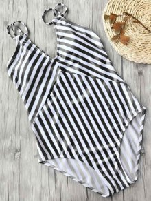 Slimming Striped Strappy One Piece Swimsuit - White And Black S