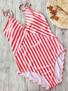 Adelgazamiento Rayas Strappy Traje De Baño De Una Pieza - Rojo+blanco S
