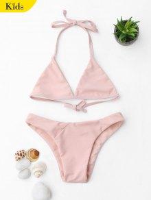 Tie Back Halter Toddler Girls Bikini Set - Pink 6t