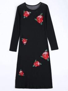 Floral Applique Sheer Mesh Club Dress - Black L