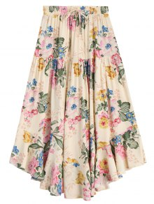 Ruffles Floral Drawstring Midi Skirt - Floral S