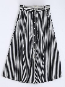 Single Breasted Belted Striped Tea Length Skirt - White And Black M