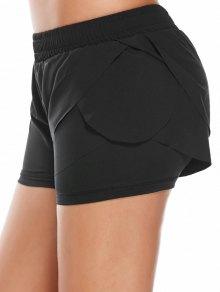 Elastic Waist Layered Sports Running Shorts - Black L