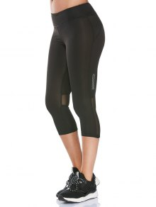 See Through Mesh Panel Cropped Fitness Leggings - Black M