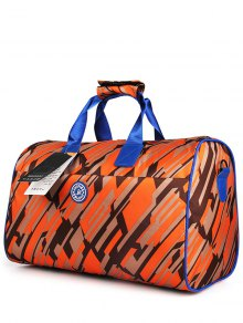 Nylon Printed Gym Bag - Orange