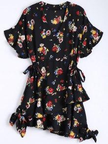 Floral Bowknot Chiffon Asymmetrical Dress - Black M