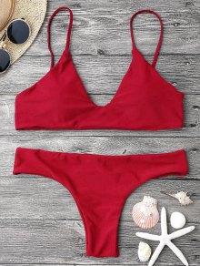 Adjustable Straps Padded Bralette Bikini Set - Red M