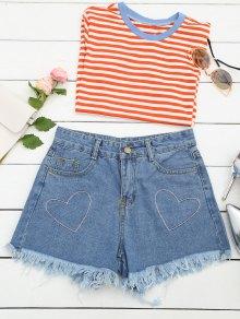 Cufoffs Heart Embroidered Denim Shorts - Denim Blue M