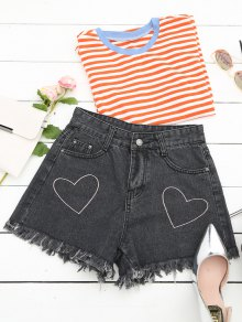 Cufoffs Heart Embroidered Denim Shorts - Black L
