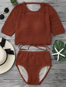 Padded Crochet Crop Top And Bikini Bottoms - Jacinth