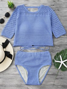 Padded Crochet Crop Top And Bikini Bottoms - Blue