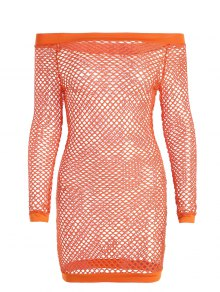Off Shoulder Fishnet Beach Cover Up Dress - Orange M