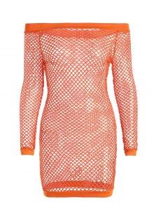 Off Shoulder Fishnet Beach Cover Up Dress - Orange S